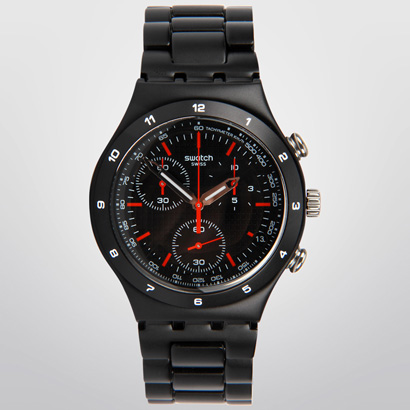 Reloj Swatch Black Coat negro con cronometro 2015