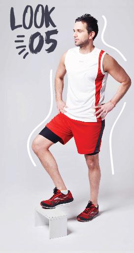 Runik - Colección primavera verano 2016 - Ropa deportiva Hombre - musculosa blanca y short rojo