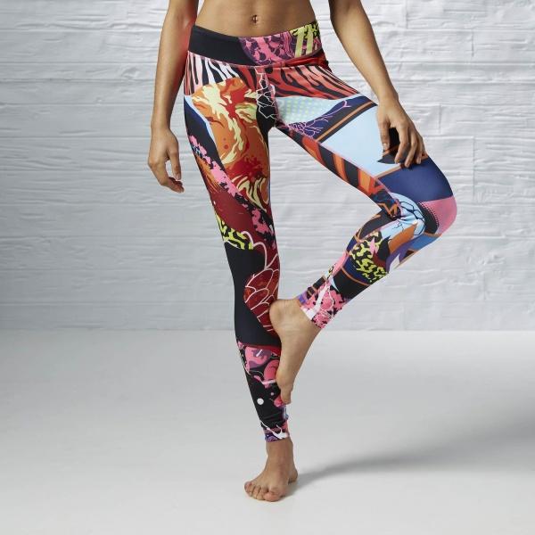 reebok calza estampada yoga training mujer 2017
